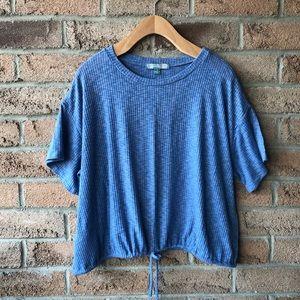 GOOD LUCK GEM | Blue boxy drawstring summer top